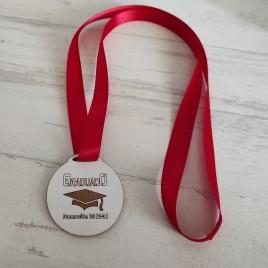 Medalla Graduados MDF lacada blanca