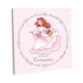 Libro firmas niña con cesta flores