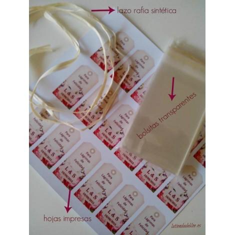 Pack 100 lagrimas de felicidad personalizadas.