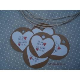 Etiquetas Redondas con Corazón
