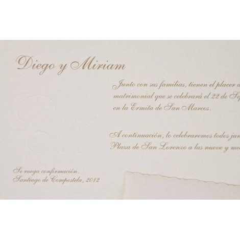 Impresion invitacion boda clasica crema