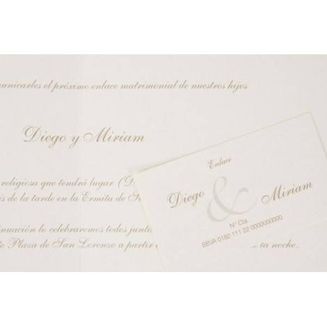 Impresion invitacion boda tarjeta crema