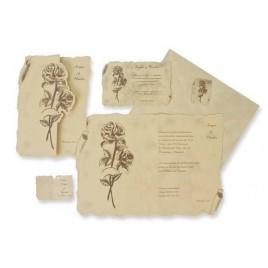 Invitacion boda pergamino flor