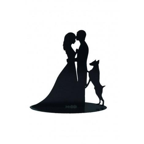 Figura Pastel Metalica Novios con perro