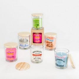 Velas aromaticas con frases fiesta