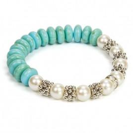Pulsera perla blanca y azul cajita regalo