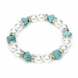 Pulsera perlas y cubos turquesa bolsita regalo