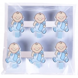 Pack 6 pinzas madera Baby