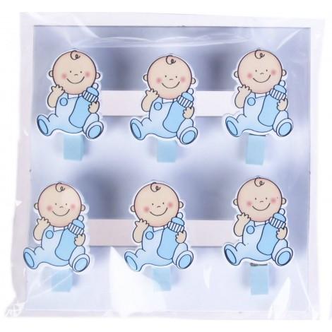 Pack 6 pinzas madera Baby azul