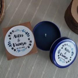 Vela Azul Personalizada Boda