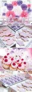 Primera comunion niña Fiesta de princesa en lila, rosa y blanco. Cajitas china basic, pompones y bolas de nido de abjea y bases de cupcake y toppers